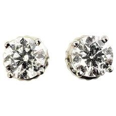 Vintage 14 Karat White Gold Diamond Stud Earrings
