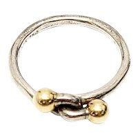 Tiffany & Co Sterling Silver Wire 18K Yellow Gold Double Ball Hook Ring Size 7 1/4