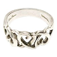 Tiffany & Co Paloma Picasso Sterling Silver Loving Heart Band Size 7 3/4