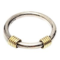 Tiffany & Co Sterling Silver 18K Yellow Gold Coil Ring Size 6 1/4
