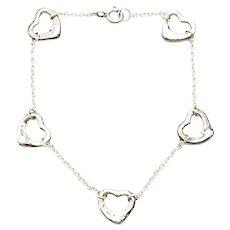Tiffany & Co Elsa Peretti Sterling Silver Open Heart Bracelet