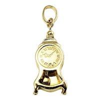 Vintage 18 Karat Yellow Gold Pendulum Clock Charm