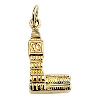 Vintage 10 Karat Yellow Gold Big Ben Clock and Tower Charm