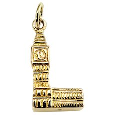 Vintage 10 Karat Yellow Gold Big Ben Clock and Tower Charm