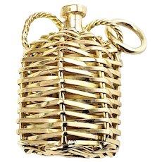 Vintage 18 Karat Yellow Gold Wicker Jug Charm