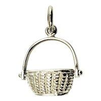 Vintage 14 Karat White Gold Nantucket Basket Charm