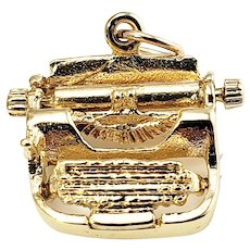 Vintage 14 Karat Yellow Gold Typewriter Charm