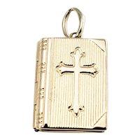 Vintage 14 Karat Yellow Gold Bible Charm/Locket