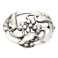 Vintage Georg Jensen Denmark Sterling Silver 101 Moonlight and Grapes Pin/Brooch