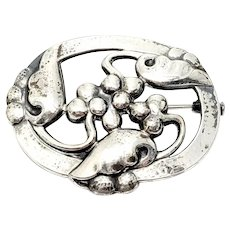 Vintage Georg Jensen Denmark Sterling Silver 101 Moonlight and Grapes Pin/Brooch