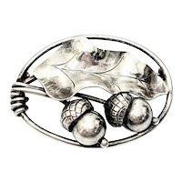 Georg Jensen USA Sterling Silver 105 Acorn and Oak Leaf Pin/Brooch