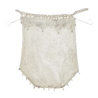 Vintage Large Sterling Silver Beaded Mesh Purse