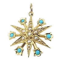 Vintage 15 Karat Yellow Gold Turquoise and Pearl Pendant