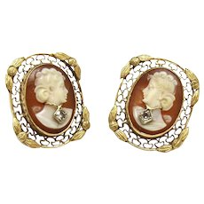Vintage 14K Yellow Gold and Diamond Cameo Filagree Earrings
