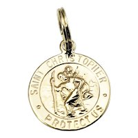 Vintage 14 Karat Yellow Gold St. Christopher's Medal