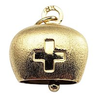 Vintage 18 Karat Yellow Gold Swiss Cross Bell Charm