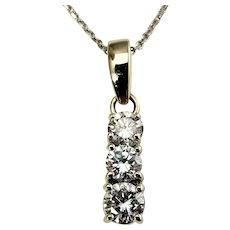 VIntage 14 Karat White Gold Diamond Pendant Necklace