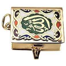 Vintage 14 Karat Yellow Rose Gold and Enamel Pill Box Charm
