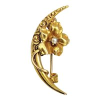 Vintage 14 Karat Yellow Gold and Pearl Crescent Moon and Flower Brooch/Pin