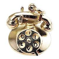 "Vintage 14 Karat Yellow Gold ""I LOVE U"" Rotary Telephone Charm"