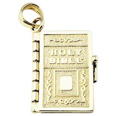 Vintage 14 Karat Yellow Gold Bible The Lord's Prayer Charm