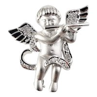 Vintage 14 Karat White Gold and Diamond Angel Brooch/Pin