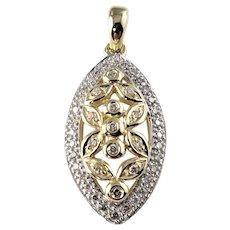 Vintage 14 Karat Yellow and White Gold Diamond Pendant