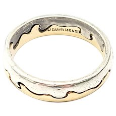 Ed Levin Sterling Silver 14K Yellow Gold Waters Edge Ring Size 7