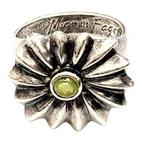 Mignon Faget Sterling Silver Peridot Papavera Ring Size 6 1/4
