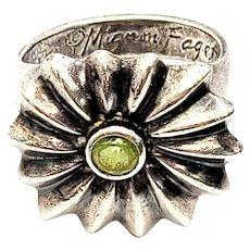 Mignon Faget Sterling Silver Peridot Papavera Ring Size 6 1/4