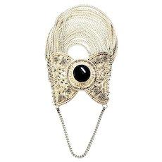 Vintage Sterling Silver Multi Strand Onyx and Marcasite Bracelet (B)