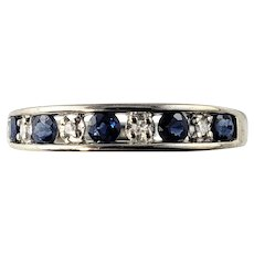 Vintage 14 Karat White Gold Sapphire and Diamond Ring Size 7