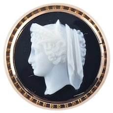 Vintage 14 Karat Rose and Yellow Gold Onyx Cameo Ring Size 8.25