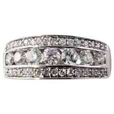 Vintage 14 Karat White Gold and Diamond Band Ring Size 7.75