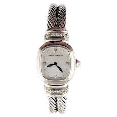 Vintage David Yurman Sterling Silver and Diamond Chelsea Watch