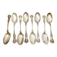 Set of 8 Tiffany & Co Sterling Silver English King Serving Tablespoons