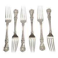 "Set of 6 Tiffany & Co Sterling Silver English King Forks 6 3/4"" with Monogram"