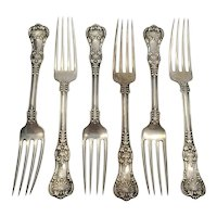 Set of 6 Tiffany & Co Sterling Silver English King Forks 7 1/2""