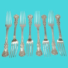 """Set of 8 Tiffany & Co Sterling Silver English King Forks 7 1/2"""" with Monogram"""