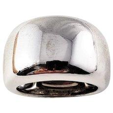 Vintage Cartier 18 Karat White Gold Wide Band Ring Size 4.5