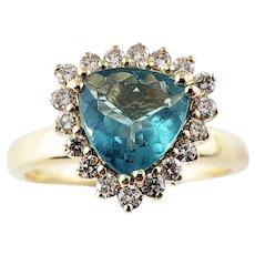 Vintage 14 Karat Yellow Gold Synthetic Aquamarine and Diamond Ring Size 9.75