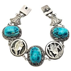 Vintage Egyptian Revival Silver and Faience Scarab Bracelet