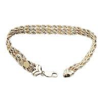 Precious Precious Sterling Silver and 14K Yellow Gold Three Strand Rope Bracelet