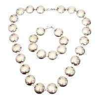 Hammered 800 Silver Disc Link Necklace and Bracelet Set
