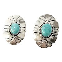 Artie Yellowhorse Sterling Silver Turquoise Oval Earrings