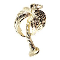 Vintage 14 Karat Yellow Gold Palm Tree Charm