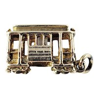 Vintage 14 Karat Yellow Gold Trolley Car Charm