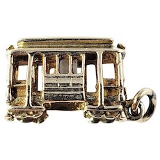 Vintage 14 Karat Yellow Gold Trolley Car Charm