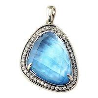 Vintage 14 Karat White Gold Blue Opal and Diamond Pendant GAI Certified