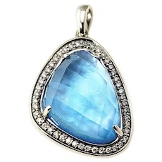 Vintage 14 Karat White Gold Blue Opal and Diamond Pendant GAI Certified